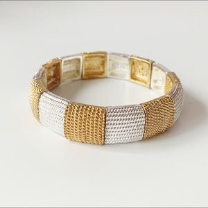 Jewelry - textured vintage metal square bead bracelet